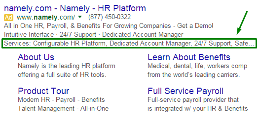 Adwords Structured Snippets 2