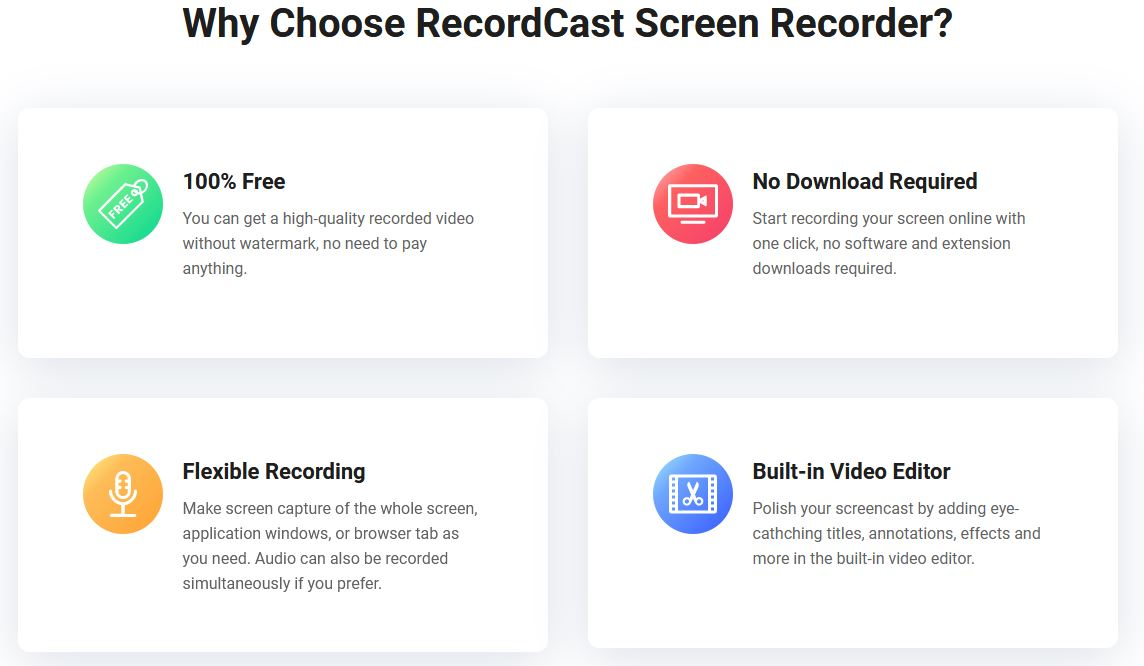 Recordcast Features